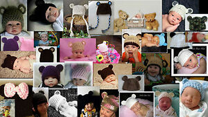 Crocheted-Teddy-Bear-Hats-choose-color-and-size