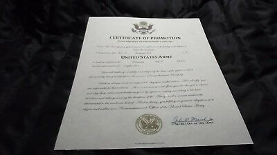 Certificate of Promotion NCO (US Army) Replacement Certificate