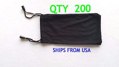 QTY 200 Cheap Bulk Lot Black Micro Fiber Sunglasses Carrying Pouch Dual String