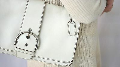Authentic COACH Shoulder Bag Purse Genuine Leather White/Ivory Vintage