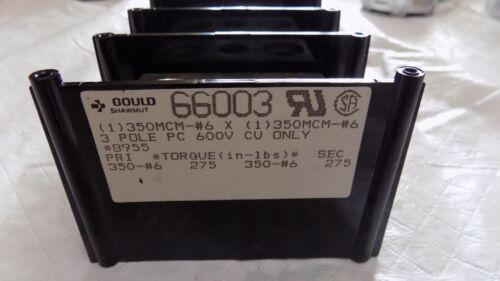 NEW GOULD SHAWMUT 66003 POWER DISTRIBUTION BLOCK 600V 3 POLE 350