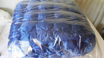 Blue Satin Solid Full Size Double Bed Cover Bedding Set Airds Campbelltown Area Preview