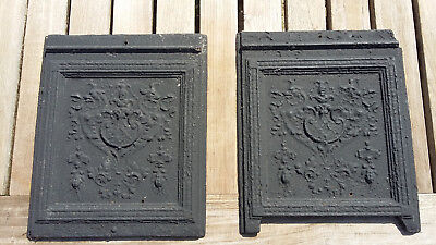 2 x Antik gusseisen Ofen-Platte Relief Gußeisenplatte Kunstguss Bilegger Platte