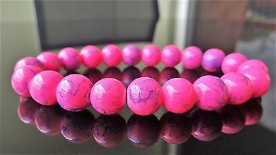 """Pink Gemstone bead bracelet for Men on Stretch 10mm - 8"""" inch Multicolor"""