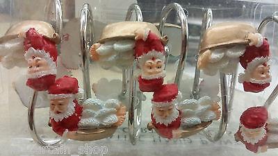 Holiday Bath Shower Curtain Hooks Set of 12 Santa Tub Christmas Xmas (Shower Curtains Hooks)