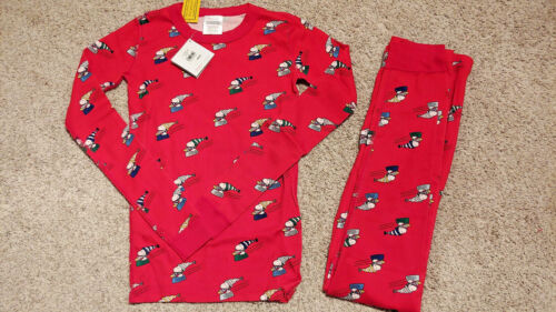 Hanna Andersson Sz 14-16 (160cm) Peanuts Snoopy Sledding Long Johns Pajamas New
