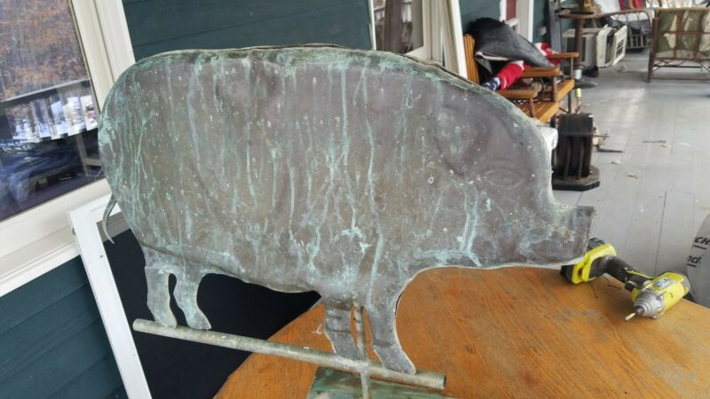 "1960 Huge Pig weathervane  patina  26"" used weathered"