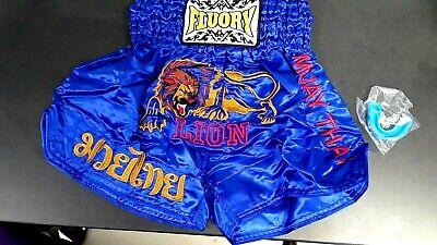 FLUORY  Muay Thai Shorts MMA Fight Youth Size XSmall New Tags Blue + Mouthguard