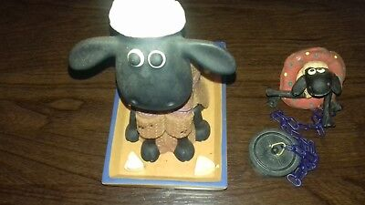 rare aardman shaun the sheep bobblehead and bath plug set of 2 good condition