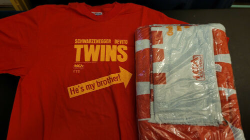 TWINS Movie Vintage Promo Towel Set and T Shirt, New, Rare EBay 1/1 , Circa 1988