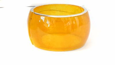 (LARGE BANGLE CUFF YELLOW BANGLE TRANSPARENT JELLY COLOR BANGLE 2 INCH THICK)