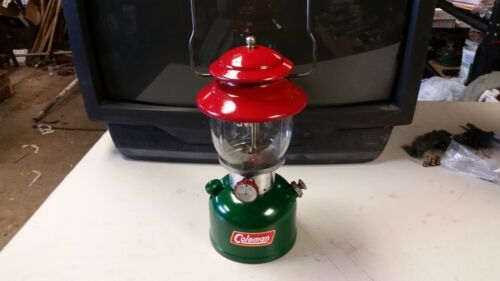 Vintage 1960 RED AND GREEN COLEMAN LANTERN 200A White Gas Camping Lamp Light
