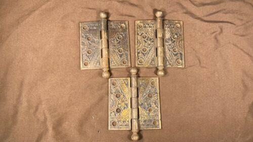 "3 Antique Ornate Eastlake 4"" x 4"" Ball Tip Hinges Branford Lock Works Conn."