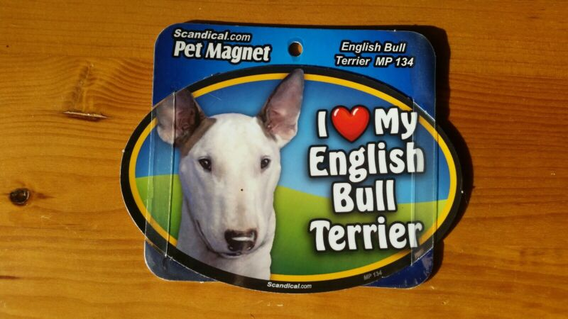 "Scandical I Love My Dog Laminated Car Pet Magnet 4"" x 6"" English Bull Terrier"