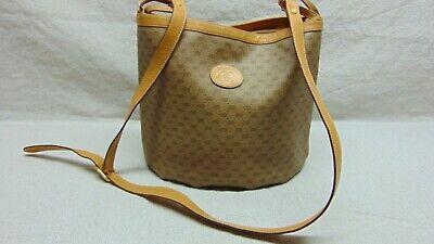 """Gucci Bucket Vintage Monogram Brown Canvas Bucket Shoulder Bag 9"""" x 9.5"""" x 6"""""""