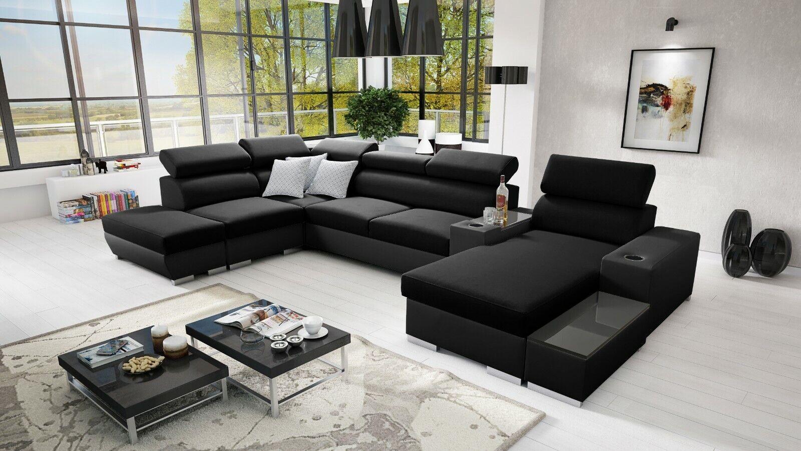 Ecksofa Ponti mit Schlaffunktion Bettkasten Wohnlandschaft Gewebe Big Sofa XL 26