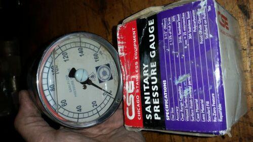 "chicago stainless steel 316L  3s-e-2u-gf-bk-SS PRESSURE GAUGE 0-160 psi 3-1/2"""