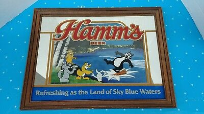 "Vintage Hamm's Beer Bear On Water Mirror Wood Framed Sign 18"" x 14"""