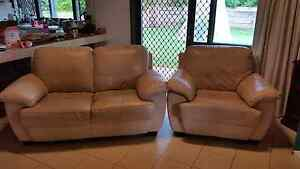 Cream Leather Two Seater Couch & Armchair Westlake Brisbane South West Preview