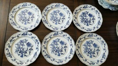 "Lot Of 6 Blue Danube Salad Plates Blue White China Porcelain 8.75"""