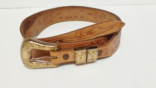 Justin Western Belt Cowboy Hand Tooled Gold Tone Buckle Brown Camel Size 40