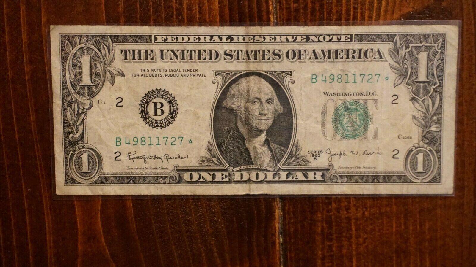 FANCY 1963 B 1 One Dollar Barr Star Note NEW YORK B 49811727  - $14.50