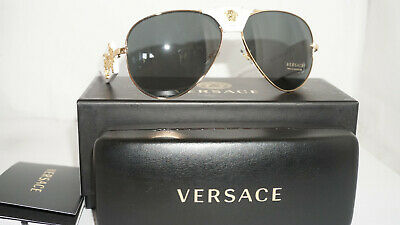 Versace New Sunglasses Aviator White Gold Leather Gray VE2150Q 134187 62 140