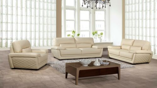 3 Pc Modern Ivory Cream Italian Top Grain Leather Sofa Loveseat Chair Couch Set