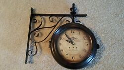 Double Sided Iron Wall Clock Scroll Train Station Two Faces Vintage Inspired
