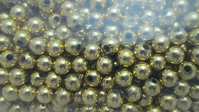 Darice 750 - 6mm Plastic Round Beads - Gold Vacuum Plated