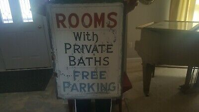 Early 1900s Original Hand Painted Tin Sign ROOMS WITH PRIVATE BATHS FREE PARKING