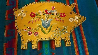 VTG / One of a kind Hand Painted Pig Shaped Cutting Board  signed A.H 94