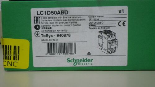 SCHNEIDER ELECTRIC LC1D50ABD 3 pole contactor with Everlink terminals New in Box