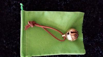 Polar Express Reindeer Bell #1 Solid Brass Bell w/ Brown tie & Green Bag