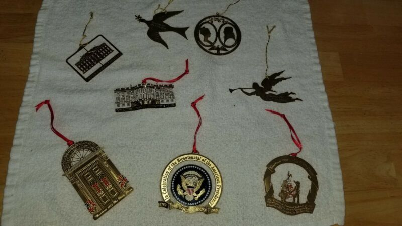 White House Ornaments LOT 8 ornaments Christmas Patriotic Historical