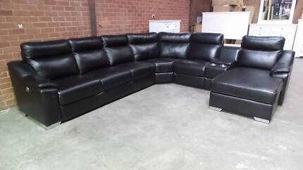 BLACK LARGE CORNER MODULAR WITH ELECTRIC RECLINER AND CHAISE