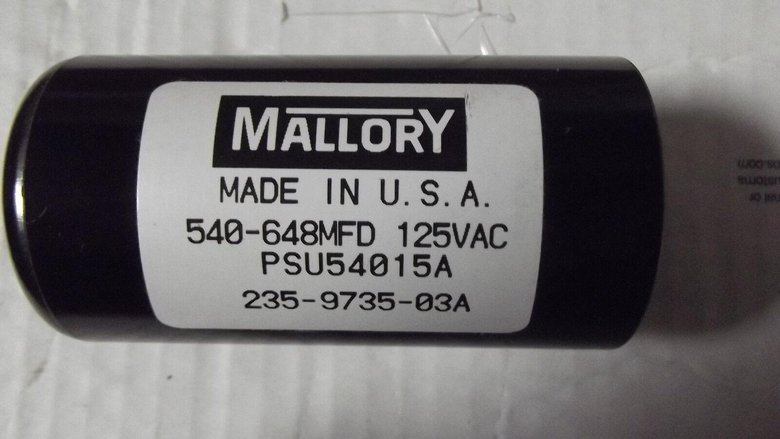 2MALLORY 540-648MFD 125VAC CAPACITORS MPSU540 15A  235-9735-03A,MADE IN USA.10.6