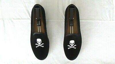 """NEW! Men's $350 DEL TORO Black Velvet """"SKULL"""" Loafers Slippers Shoes Stubbs 9"""