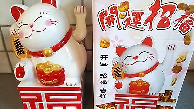 """8.2""""Large White color Chinese Lucky Cat Waving Moving Arm Decoration new 21 cm"""