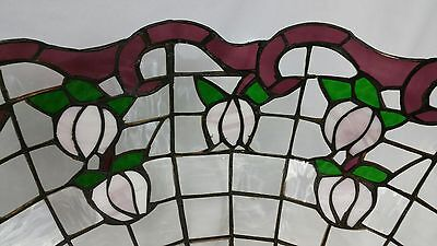 Leaded Glass Hanging Lamp Shade Large 20 Inch Tulip Flower Maroon Purple