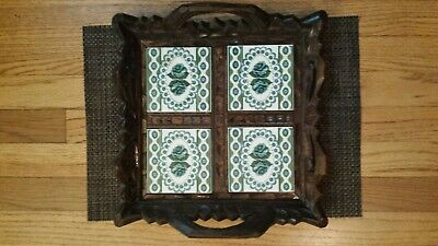 VINTAGE HAND-CARVED WOOD SERVING TRAY WITH INLAID TILES