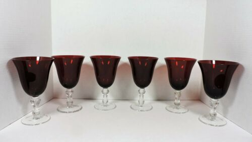 6 Ruby Red Bell Shaped Goblets With Clear Stems