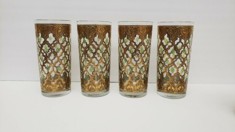Lot 4 Culver VALENCIA Highball Tumblers Glasses Mid-Century Modern MCM Diamonds