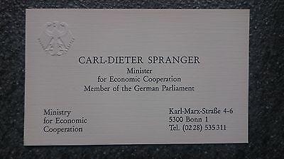 Visitenkarte ohne Orig.AG Carl-Dieter Spranger ex. Bundesminister MDB