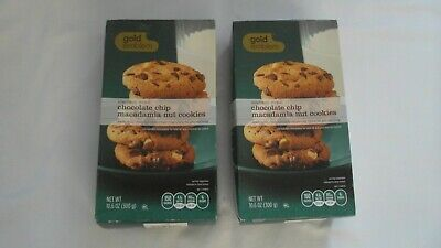 (2) Boxes Gold Emblem Chocolate Chip Macadamia Nut Cookies 10.6 Oz Each Box Chocolate Macadamia Nut Cookies