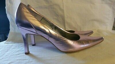 CALVIN KLEIN Metallic Leather Classic Pointy Toe Pumps Size 8.5 Women's Shoes
