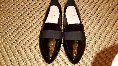KATE SPADE DESIGNER BLACK PATENT SHOES.uk6.WITH RIBBON TOP DETAIL.SMART STYLISH.