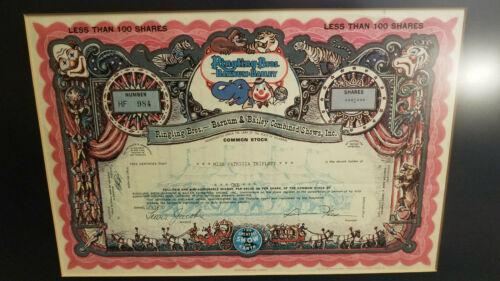 Ringling Bros. Barnum Bailey Combined Shows 1970 ISSUED Circus Stock Certificate
