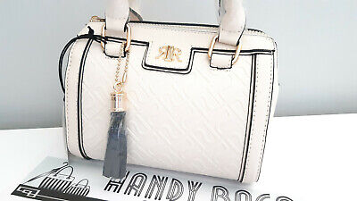 RIVER ISLAND Girls Cream RI Crossbody Mini Bowler BNWT