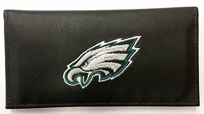 Embroidered Leather Checkbook Cover - NFL Philadelphia Eagles Genuine Leather Checkbook Cover, New (Embroidered Logo)